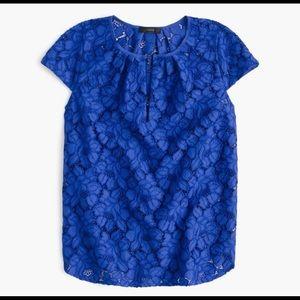J.Crew Blue Cap-sleeve floral lace top Size 8